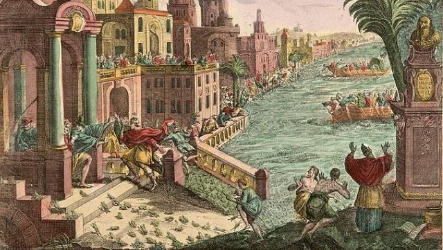 Ilustração da Segunda Praga do Egito. A Praga dos sapos. (Wellcome Library, London)