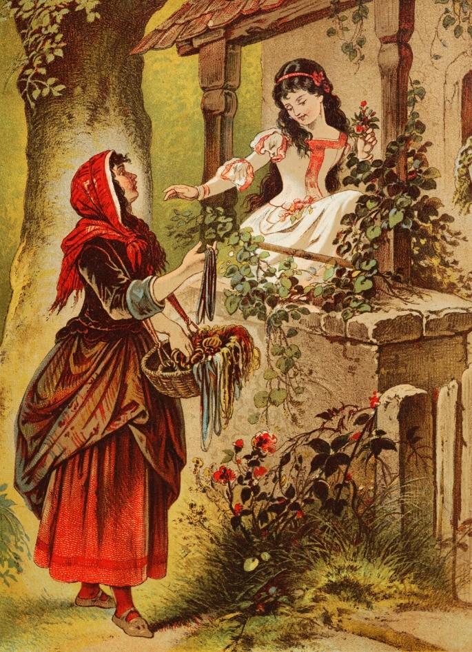 Rainha oferecendo a maça envenenada