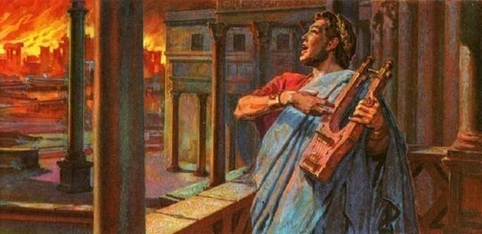 Nero tocando harpa