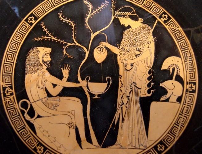 Atena e Hércules - pintura em prato grego