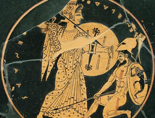 Atena combatendo - pintura em prato grego