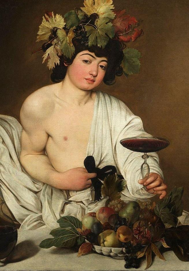 Pintura de Dioniso com um vinho, com cachos de uva e outras frutas