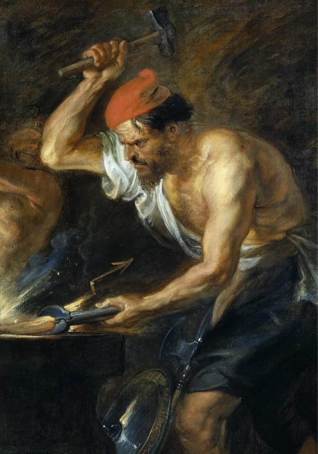 Pintura de Hefesto trabalhando com os metais