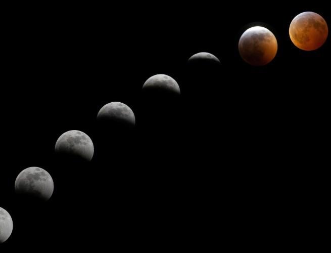 Fases de um eclipse lunar total