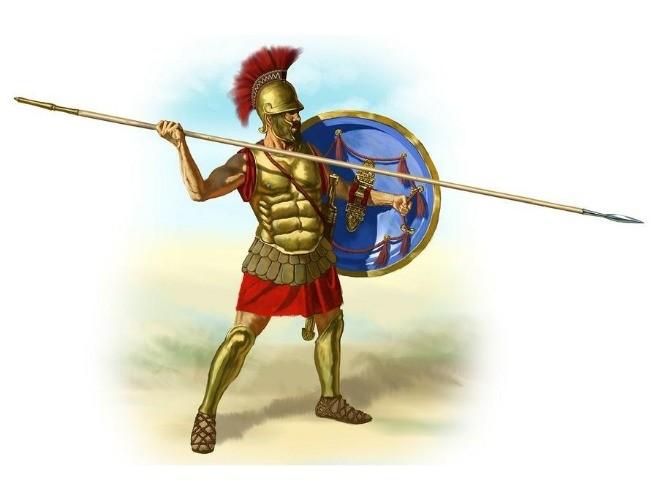 Desenho de como era o gladiador, com suas vestes de batalha