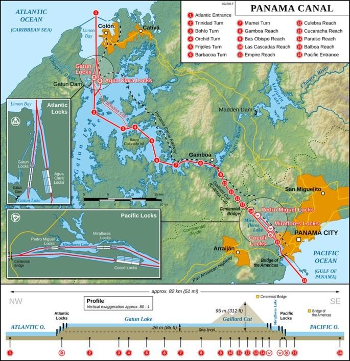 canal do panamá mapa