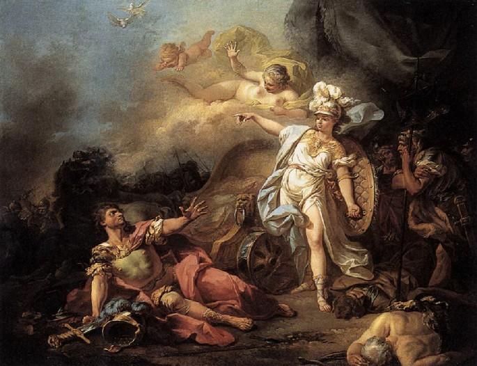 Pintura 'A Luta entre Marte e Minerva' de  Jacques-Louis David (1771).