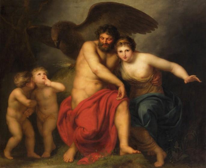 Pintura 'Zeus e Hera no Monte Ida' de Andries Cornelis Lens (1775).