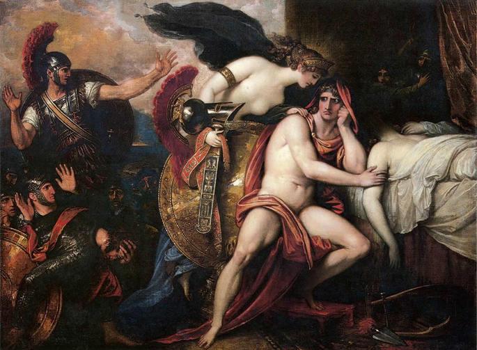 Pintura 'Tétis Trazendo Armadura para Aquiles' de Benjamin West (1806).