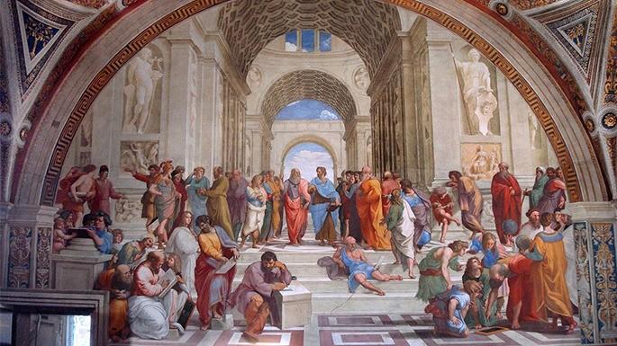 Clássica pintura da Escola de Atenas. Rafael Sanzio (1509–1511).