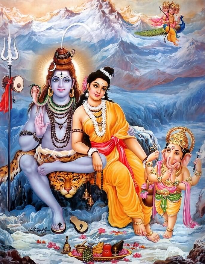 Ilustração que apresenta os deuses Shiva, Parvati e Ganesha.