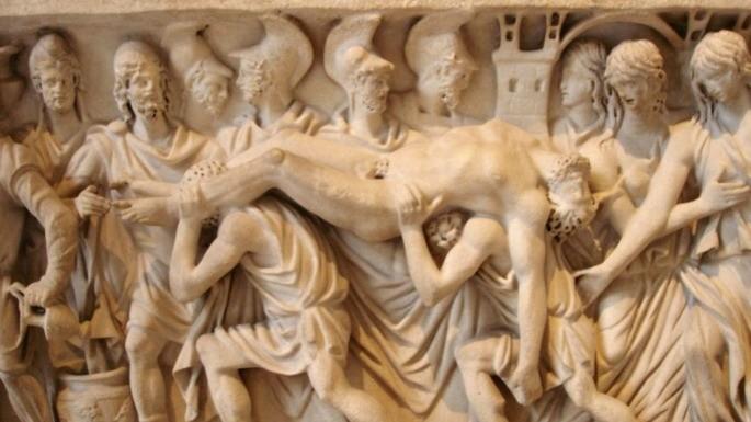 Escultura que revela o corpo de Heitor sendo levado de volta a Troia. Cena da Ilíada (180-200).