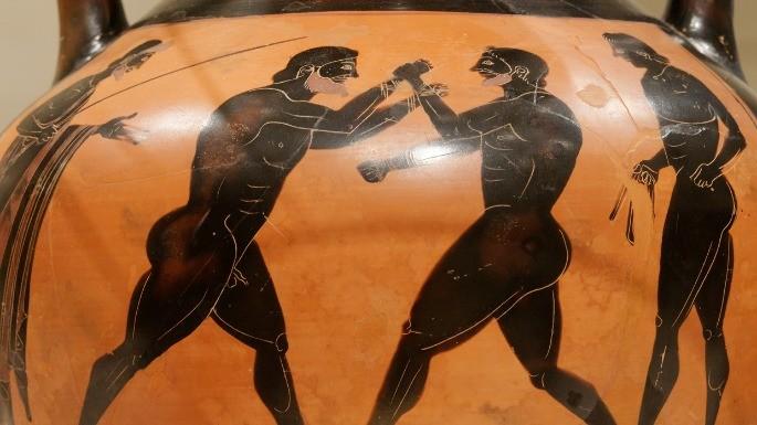 Luta de boxe na Grécia Antiga representada em vaso grego antigo