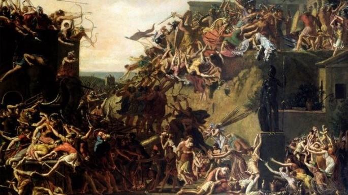 Pintura que mostra o cerco de Esparta em batalha. Épirus (entre 1799 e 1800).