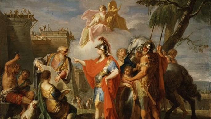 Pintura que mostra Alexandre, o Grande, fundando Alexandria. Placido Costanzi (1736-1737)