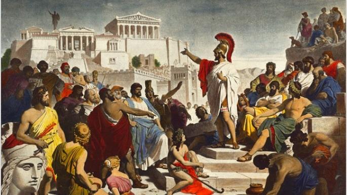 Pintura que mostra o Discurso Fúnebre de Péricles, um dos maiores líderes democráticos de Atenas. Philipp Foltz (1852).