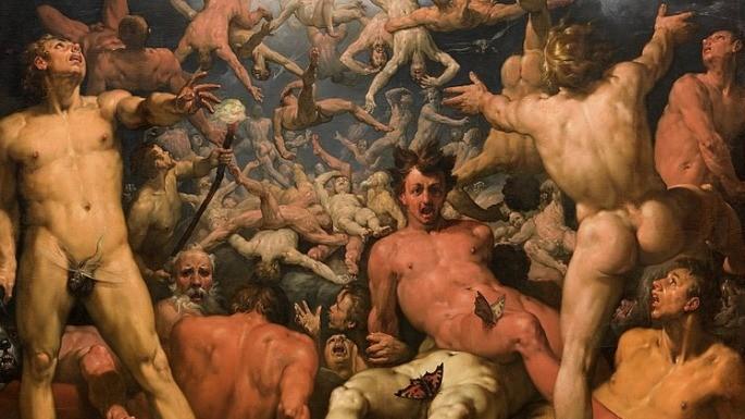 Pintura que representa A Queda dos Titãs. Cornelis Cornelisz van Haarlem (1596-1598).