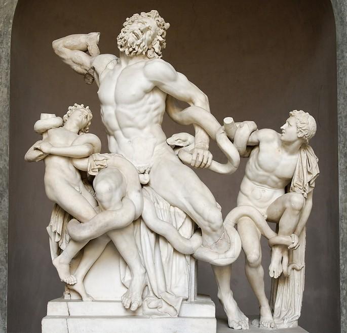 Escultura chamada de Grupo de Laocoonte, uma das maiores representações da arte helenística grega. Autoria atribuída a Agesandro, Atenodoro e Polidoro. (27 a.C. - 68 a.C.)