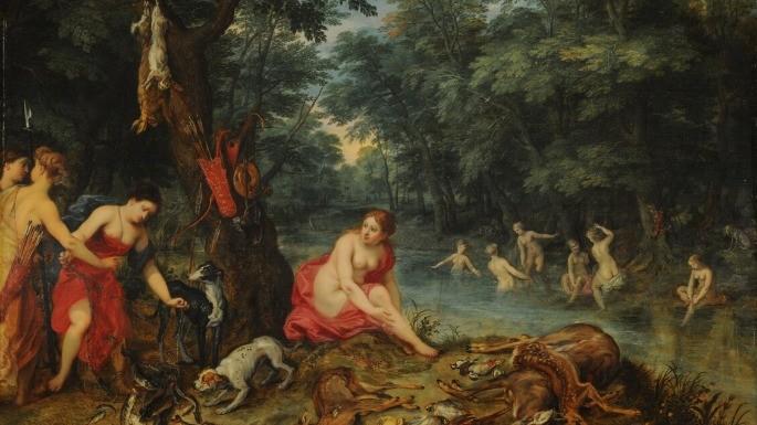 Pintura que retrata um Banho de Ninfas pelos artistas  Alamy Hendrick van Balen e Jan Brueghel II. (1585 - 1625).