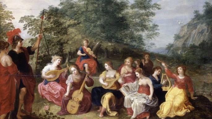 Pintura que retrata Minerva e as Nove Musas pelo artista Hendrick van Balen (Século 17).