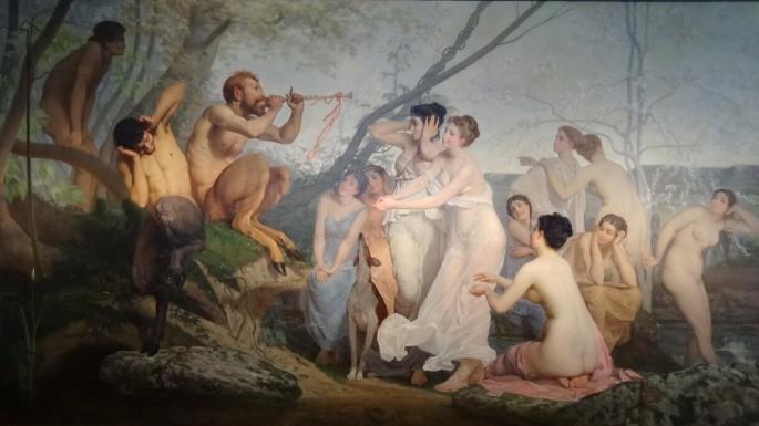 Pintura que retrata Ninfas e Sátiros pelo artista Charles Édouard Delort (1888).