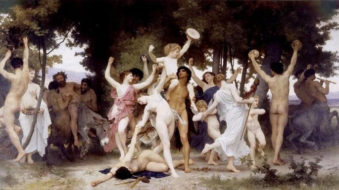 Pintura que retrata A Juventude de Baco (Dionísio na versão romana) pelo artista William Adolphe Bouguereau (1884).