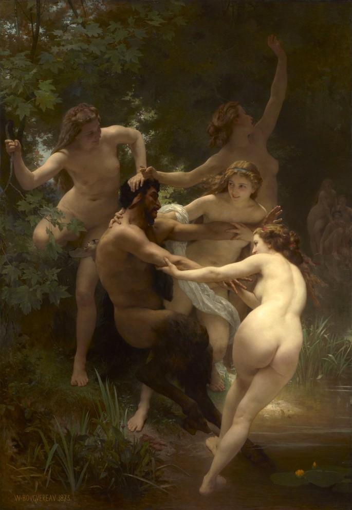 Pintura que retrata Ninfas e Sátiro do artista William Adolphe Bouguereau (1873).
