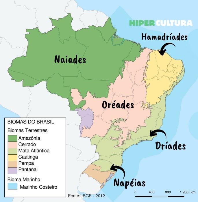 Mapa do Brasil que revela os biomas de cada região com destaque para o nome de ninfa inicialmente dado a cada uma delas.
