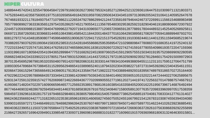 O começo do maior número primo já descoberto.