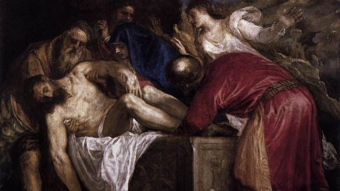 Pintura 'O Sepultamento de Cristo' de Ticiano (1559). Na obra, podemos observar o discípulo José de Arimateia carregando os braços de Jesus.