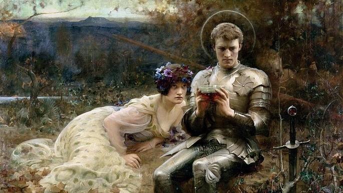 Na pintura 'A Tentação do Senhor Percival' de Arthur Hacker (1894), observamos o cavaleiro segurando o cálice sagrado.