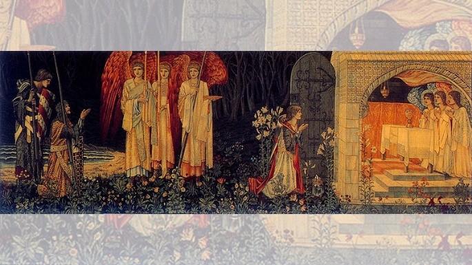 A pintura 'A Conquista do Graal' de Sir Edward Burne-Jones, William Morris e John Henry Dearle (1895) revela os cavaleiros Galahad, Percival e Boors diante do Santo Graal.