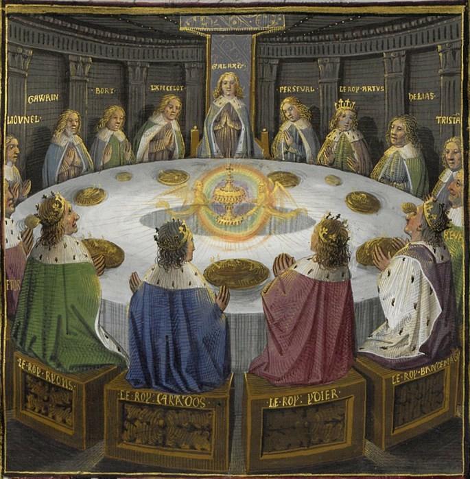 A pintura de Évrard d'Espinques (1495) retrata o Rei Arthur e os Cavaleiros da Távola Redonda diante da aparição do Santo Graal.
