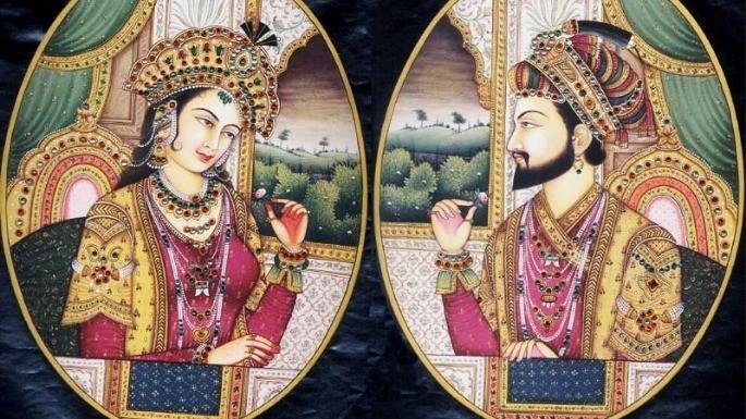Pintura do Imperador Shah Jahan e de sua esposa, Mumtaz Mahal. Autor e data desconhecidos.
