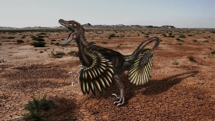 Ilustração que revela como seria um Velociraptor de acordo com estudos de paleontologia.