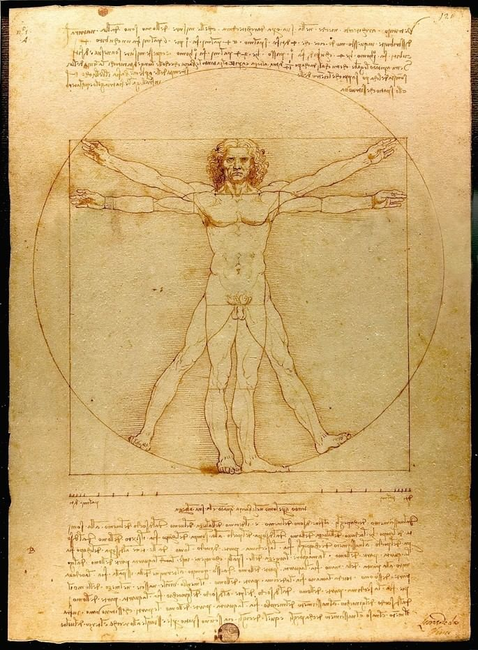 Homem Vitruviano, de Leonardo da Vinci. Fonte: Wikipedia