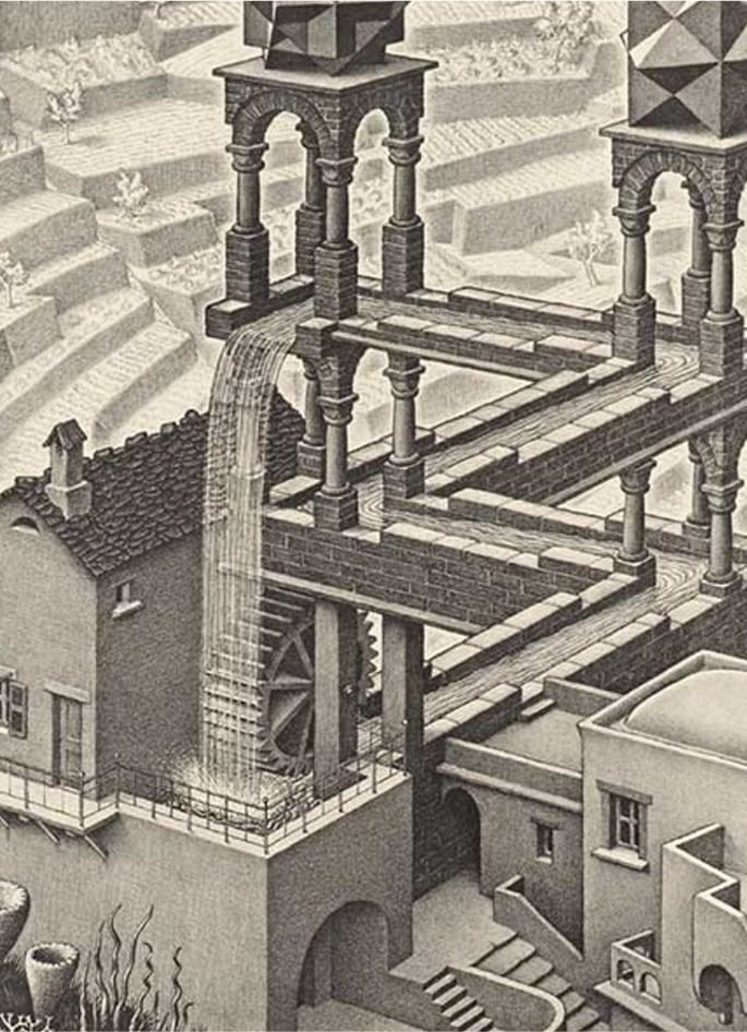 Waterfall (a cascata) de M. C. Escher