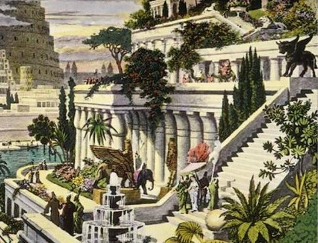 Reprodução de como poderiam ser os Jardins Suspensos da Babilônia