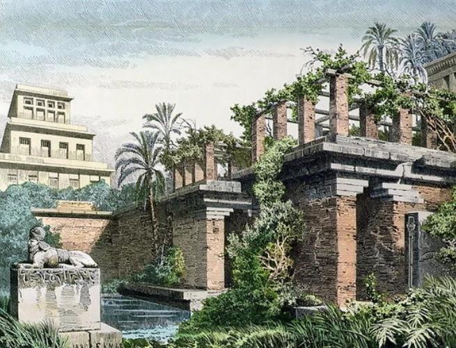 Reprodução de Ferdinand Knab (1886) de como se imaginavam os Jardins