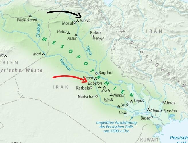 Mapa da Mesopotâmia: repare nas setas que destacam Babilônia e Níniive