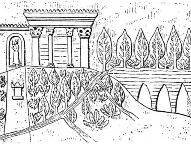Interpretação dos jardins localizado em Nínive