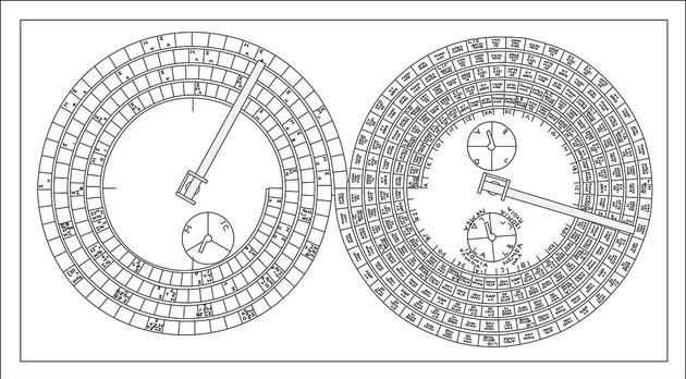 Parte de trás do Mecanismo Antikythera