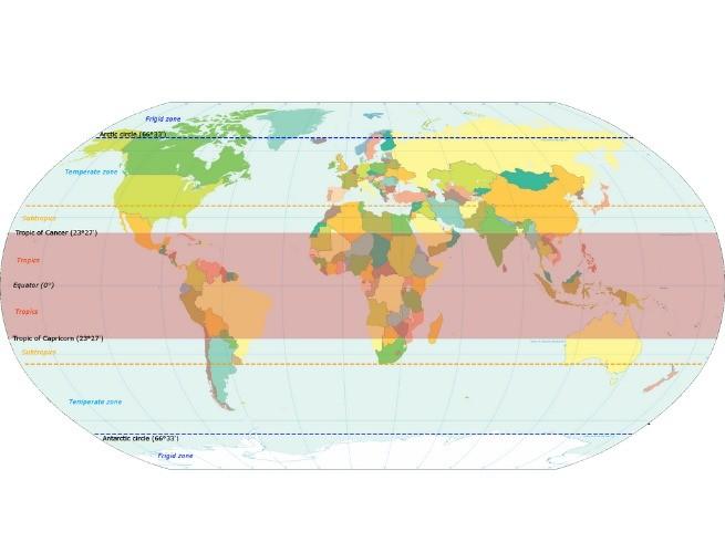 Mapa Mundi com os trópicos e a linha do Equador (© KVDP/Wikimedia Commons)