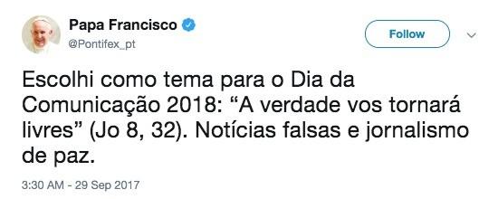 Papa -Twitter-Notícias falsas