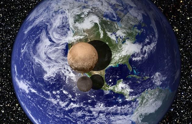 Plutão comparado com a Terra