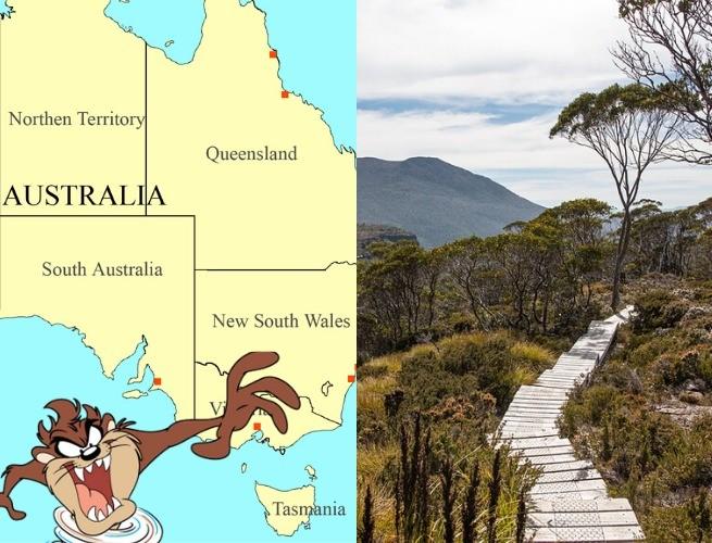 Mapa da Austrália com a Ilha da Tasmânia / Fotografia da natureza que cerca o local