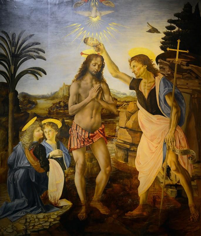 O Batismo de Cristo, de Leonardo da Vinci. Fonte: Wikipedia
