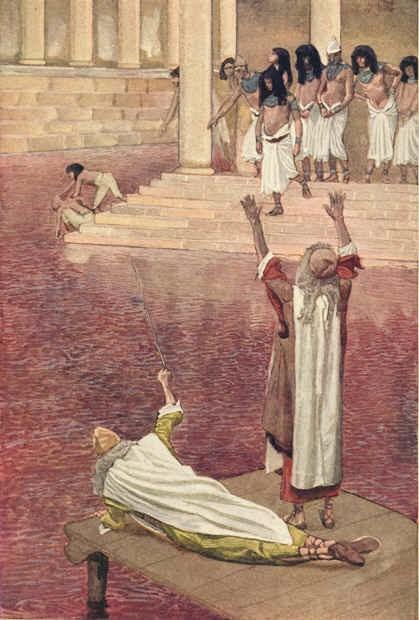 Ilustração de Água é transformada em sangue por James Tissot (antes de 1903)